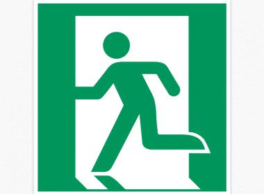 ISO-7010, E001-nooduitgang-sticker-groen-ISO-7010-E001