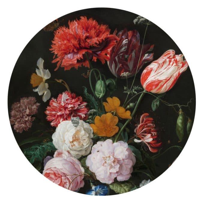 muurcirkel behangcirkel bloemen vase of flowers wandcirkel davidsz jan de heem dsa