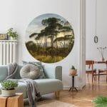 muurcirkel behangcirkel natuur bomen uitzicht zon Italiaans landschap met parasoldennen Hendrik Voogd 1807 2
