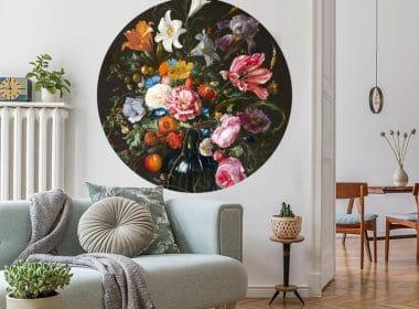 muurcirkel jan davidsz - vase of flowers muursticker muurkunst bloemen stilleven vaas met bloemen pioenroos anjer franse tulp