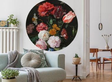 muurcirkel jan davidsz – vase of flowers muursticker muurkunst bloemen stilleven vaas met bloemen pioenroos anjer franse tulp roos