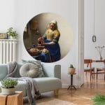 muursticker rond cirkel muurcirkel wandcirkel stikker het melkmeisje vermeer Johannes