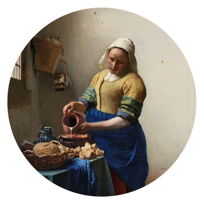 muursticker rond cirkel muurcirkel wandcirkel stikker het melkmeisje vermeer Johannes kunst